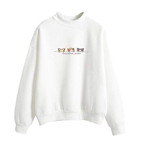 - Women Sweatshirts, Fzitimx Women Fashion Long Sleeve Three Cats Printed Sweatshirt Blouse Tops T -Shirt Women Tops(White L2)