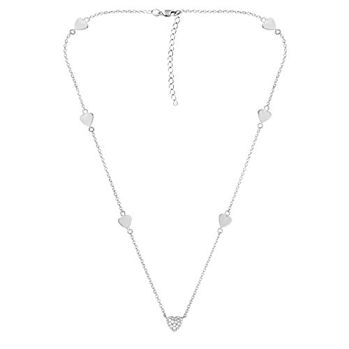 NATALIA DRAKE Red Carpet Delicate 1/10CTTW Diamond 3 Station Heart Necklace White or Yellow (White) -