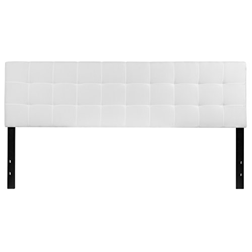 Flash Furniture Bedford Tufted Upholstered King Size Headboard in White Fabric (Boards Head King)