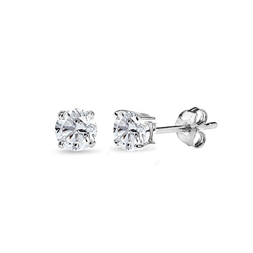 Sterling Silver Created White Sapphire 4mm Round-Cut Solitaire Stud Earrings ()