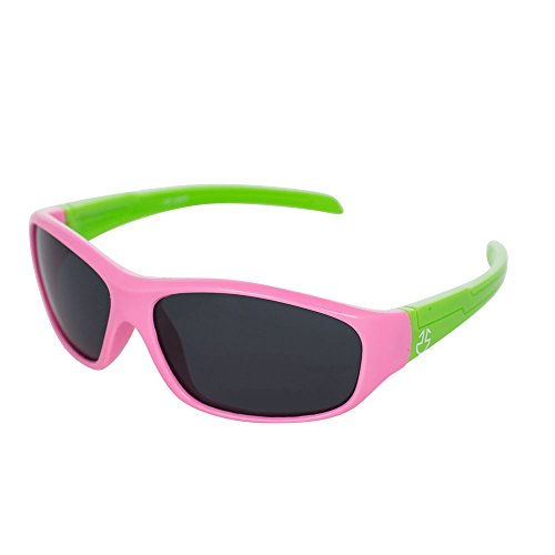 Flexible Rubber Kids Sunglasses for Boys and Girls - Bendable Unbreakable Silicone Gel Frame with Polarized Lenses - Pink Frame & Green Temples - by Optix - Glasses Flexible Toddler