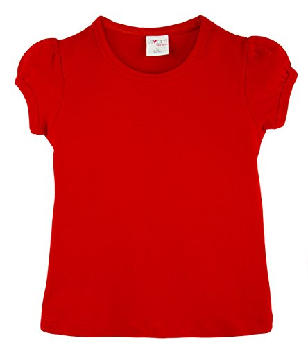 Lovetti Girls' Basic Short Puff Sleeve Round Neck T-Shirt 4T Red -