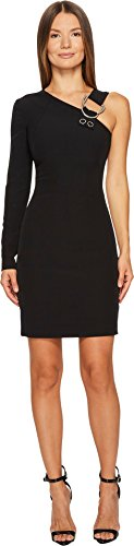 Versace Jeans Women's One Shoulder Long Sleeve Dress Nero - Clothing For Women Versace