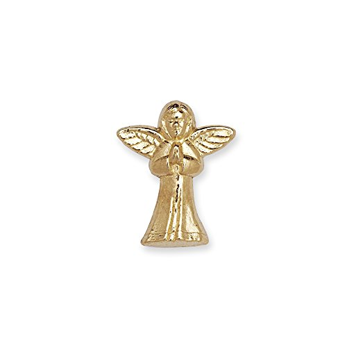 14k Yellow or White Gold Praying Angel Lapel Pin For Men ()