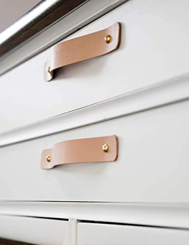 Bedroom KEYAIIRA – Leather and Brass Drawer Handle – minimal furniture knobs modern kitchen handle pulls for cabinets farm house… dresser