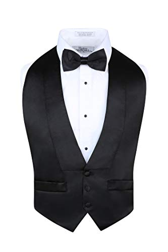 S.H. Churchill & Co. Men's Satin Backless Vest & Bow Tie Set Black, Fit All ()