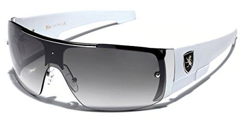 Khan Men's Flat Top Sports Shield Sunglasses
