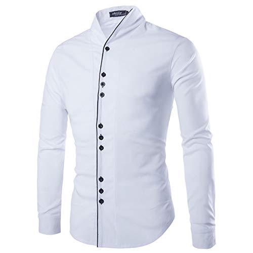 Iyfbxl soporte Delgada Manga Camisa Hombre Larga Color Sólido Blanco Para xCrB6xqwA