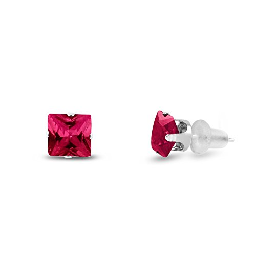Lab Created 6x6mm Square Princess Cut Red Ruby Solid 10K White Gold 4-Prong Set Stud Earrings ()