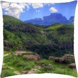 magnificent drakensberg mountain range in south africa hdr - Throw Pillow Cover Case (18