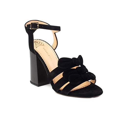 charlotte olympia Women's 'Bronte' Suede Block Heel Black Shoes