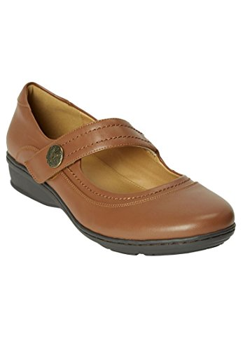 Comfortview Womens Plus Size Mary Jane Flats Cognac
