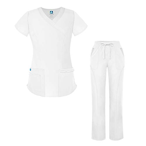 (Adar Universal Women's Scrub Set - Mock Wrap Scrub Top and Straight Leg Scrub Pants - 905 - White - M)