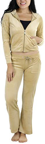 (ToBeInStyle Women's Regular Drawstring Pants w/Hoodie Sweatshirt New Velour Set - Small/Size: 2-4 - Beige)