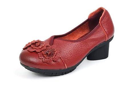 Fuxitoggo Mocasines de Flores de tacón Medio Vintage Mujer Slip on Pumps (Color : Rojo