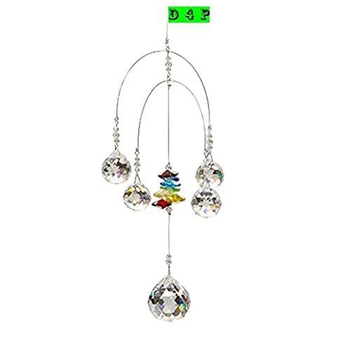 Discount4product Branded Double Rainbow Mobile, Chakra, 5 Crystal Ball Attached Rainbow Maker Hanging Crystal Suncatcher Ornament Outdoor Décor, Car Decoration Porch (Crystal Suncatcher Chakra)
