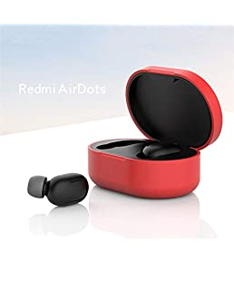 DishyKooker Silicone Protective Cover Earphone Case for xiao-mi Re-dmi Airdot T-WS Bl-uetooth Earphone Fashion Version Wireless red Gift