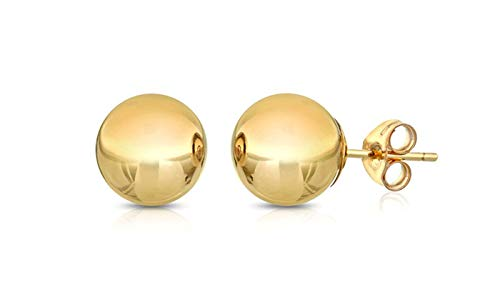 BSD 14K Yellow Gold Ball Stud Earrings for Women | Studs With Push Backs | Real Hypoallergenic Jewelry and Accessories | 3mm - 8mm