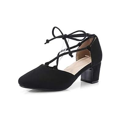 BalaMasa Womens ASL06079 Pointed-Toe Huarache Low-Top Black Pu Block Heels - 2 UK (Lable:33)