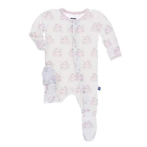 Kickee Pants Print Footie with Snaps in Natural Mouse & Cheese, 4T by Kickee Pants