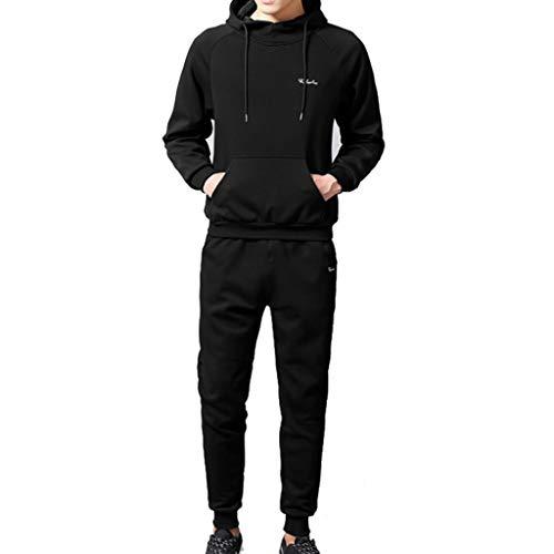 Men's Autumn Winter Patchwork Sweatshirt Top Pants Sets Sports Suit Tracksuit
