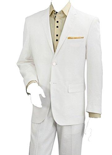 Summer Linen Suit (Men's Two Piece Linen Summer Suit (White) (48R))