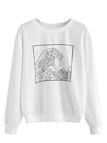 SweatyRocks Women's Graphic Print Pullover Sweatshirt Long Sleeve T-Shirt Top White S