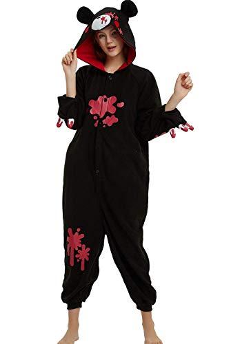 Apiidoo Halloween Christmas Adult Animal Pajama One Piece Cosplay Onesie Costume Black Gloomy Bear -