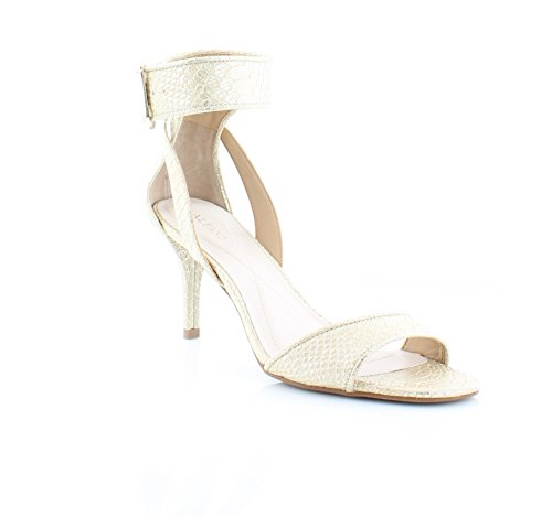 Suede Open Toe Ankle Strap D-Orsay Pumps, Gold, Size 8.0 (Alfani Open Toe Heels)
