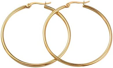 PH PandaHall 6 Pairs Golden Hoop Earrings Piercing Earrings Basic Plated Click Hoop Ring Stainless Steel Rounded Tube for Women Girls Earring Jewelry 65x2mm