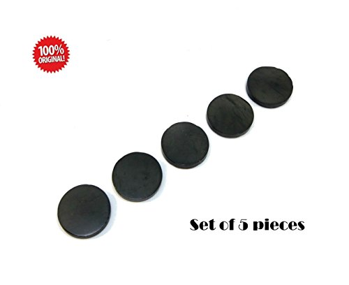 Set of 5 Polished Shungite Plate Sticker for mobile phone Circle