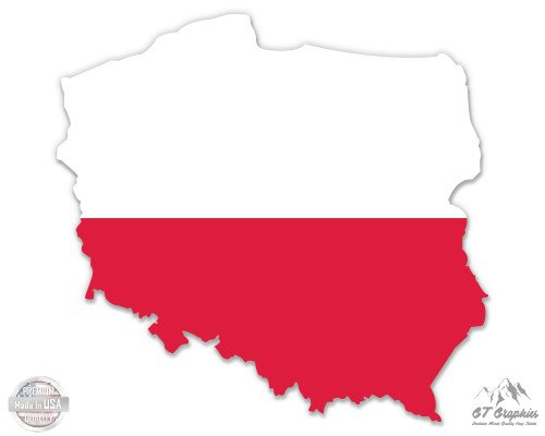 "Poland Map Flag Country Shape - 8"" Vinyl Sticker - For Car Laptop I-Pad - Waterproof Decal"