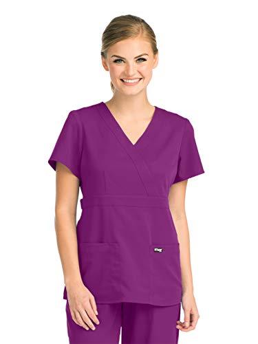 - Grey's Anatomy 4153 Women's Mock Wrap Top Very Berry M