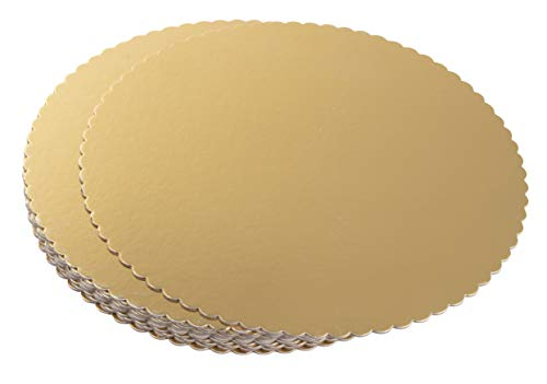 Gold Scalloped - Round Cake Boards - 12-Pack Cardboard Scalloped Cake Circle Base, 12-Inch Diameter, Gold