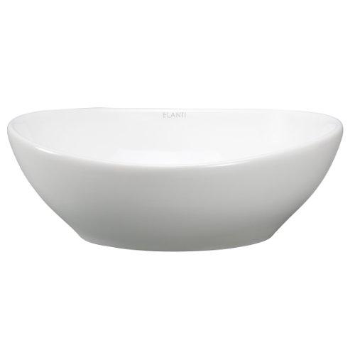 Oval Porcelain Sink (Elite Sinks EC9838 Porcelain Vessel Oval Deep Bowl Sink, White)