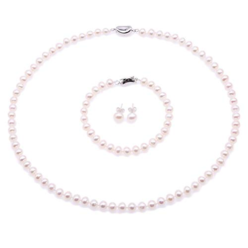 - JYX Pearl Necklace Set AA+ 6-7mm Natural White Freshwater Cultured Pearl Necklace Bracelet and Earrings Set for Women