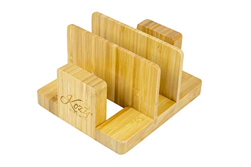 Cutting Board Organizer Natural Bamboo Kitchen Pantry Rack Cabinet Organizer for Cutting Board, Dish, Bakeware, Plate, Pot Lid, Cook Books, BookStand Holder by: Kozy Kitchen ()