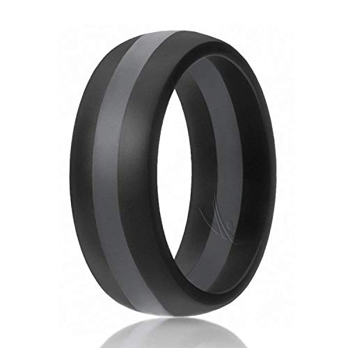 ROQ Silicone Wedding Ring for Men, Silicone Rubber Band - Black with Grey Stripe, Size 9
