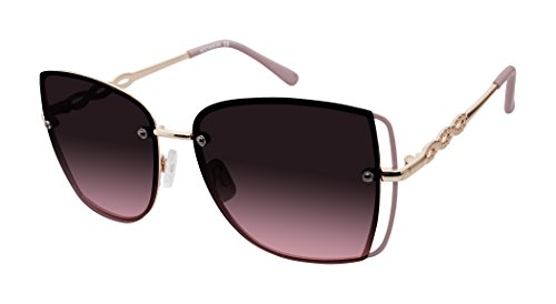 Rocawear Women's R680 Rgdrs Non-Polarized Iridium Round Sunglasses, Gold Rose, 65 mm