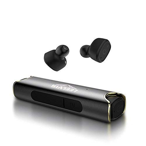 True Wireless Earbuds, LEELVIS Mini Noise Cancelling In-ear Bluetooth Headphone, Sweat-proof Earphone with Microphone(Black)