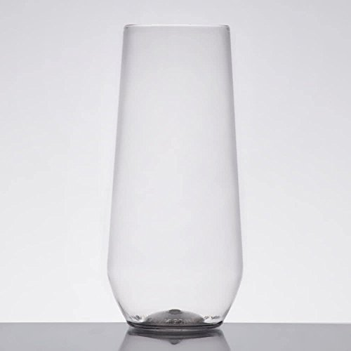 10 Ounce Flute Glass (Visions 10 oz. Clear Plastic Disposable Stemless Flute - 64/Case)