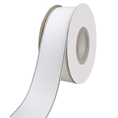 DUOQU 1 inch Wide Grosgrain Ribbon with Silver Edge 20 Yards Roll White