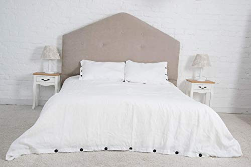 Natural Linen Off-White Bedding 3 pcs Set with Buttons - Different Sizes