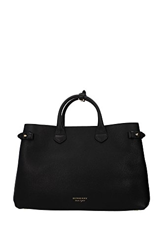 Burberry Women's Large and Check Banner Tote Black