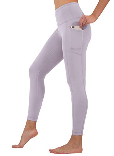 90 Degree By Reflex High Waist Tummy Control Interlink Squat Proof Ankle Length Leggings - Gray Ridge - Large ()