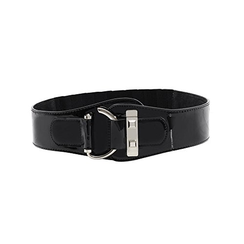 Ya Jin Women Stretchy Patent Leather Dress Belt Elastic Wide Waist Cinch Belt Metal Buckle (Cinch Leather Wide Patent)