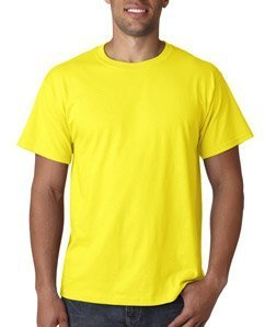 Crew Screen Print T-shirt -  Fruit of the Loom Men's Short Sleeve Crew Tee, 3X-Large  - Neon Yellow