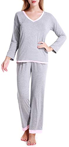 Aoymay Women's V-Neck Pajamas Set Long Sleeve Sleepwear Cotton Loungewear Grey XS