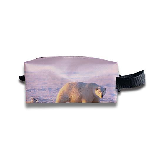 Clash Durable Zipper Wallet Makeup Handbag With Wrist Band Polar Bear And Wild Fox Toiletry Bag -