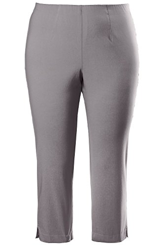 Vent Cropped Pant - Ulla Popken Women's Plus Size Bengaline Cropped Stretch Pants Grey/Taupe 32 640914 13